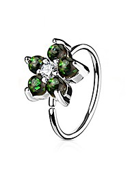 cheap -opal glitter set flower petals cz center 316l surgical steel gold ip plated wildklass hoop ring for nose & ear cartilage (dark green)