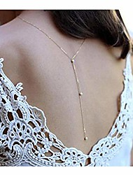 cheap -back necklace backdrop pearls body chain for women. (silver)