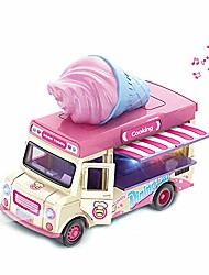 cheap -mini pull back vehicle for kids functional food truck kitchen dinning car with music&light home decor model vehicle truck for age 3+ boys girls gifts (pink)