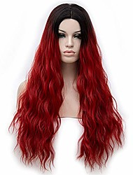 cheap -long synthetic wigs with free wig cap dark roots natural curly wig heat resistant fiber hair for women (wine red)