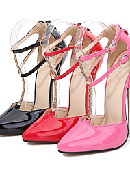cheap -Women's Dance Shoes Pole Dancing Shoes Heel Slim High Heel Black Light Red Pink Buckle Adults'