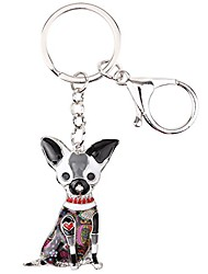 cheap -bonsny enamel alloy chain chihuahua key chains for women jewelry car purse handbag charms (grey)