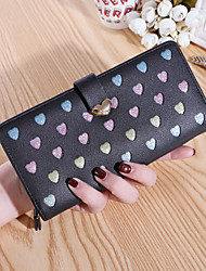cheap -Women's Bags PU Leather Wallet Zipper Print Heart 2021 Daily Date Black Blushing Pink Khaki Sky Blue