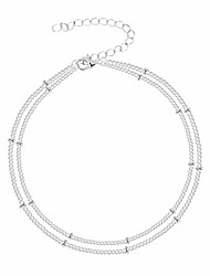 cheap -dainty silver layered satellite chain anklet,beaded chain anklets for women,satellite chain ankle bracelet