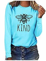 cheap -womens bee kind tshirts long sleeve 2020 casual cute garphic print crewneck shirts blouse tee tops plus size s-3xl blue
