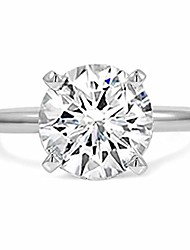 cheap -4 carat round brilliant cubic zirconia solitaire engagement rings for women, classic cz wedding ring, white gold finish, size 5-10