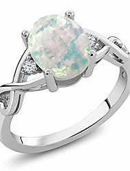 cheap -925 sterling silver cabochon white simulated opal women's ring (0.69 cttw, oval birthstone available 5,6,7,8,9) (size 7)