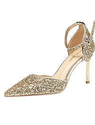 cheap -Women's Heels Stiletto Heel Pointed Toe Sexy Daily Party & Evening Walking Shoes Faux Leather Sequin Solid Colored White / Gold Black Red