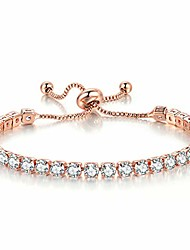 cheap -tennis bracelets for women white gold plated diamond aaa+ cubic zirconia cz dainty classic adjustable slider bracelet silver fashion jewelry wedding gift (rose gold)