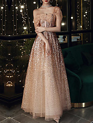 cheap -A-Line Sparkle Elegant Prom Formal Evening Dress One Shoulder Short Sleeve Floor Length Tulle Sequined with Beading Sequin 2020