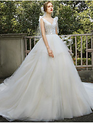 cheap -Ball Gown Wedding Dresses Off Shoulder Court Train Tulle Sleeveless Romantic Luxurious with Bow(s) 2020