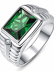 cheap -emerald gemstone ring fashion emerald cut 810mm simulated emerald ring round cut white cubic zirconia cz 925 sterling silver bands size 10