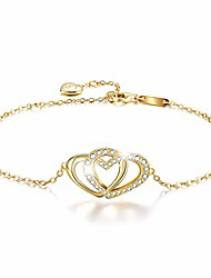 cheap -✦gifts for mother's day✦18k gold plated 925 sterling silver 5a cubic zirconia cz double love heart bracelets for women and teen girls (18k yellow gold-love heart 1)