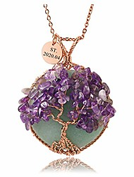 cheap -jovivi personalized customer natural green aventurine crystal necklace tree of life rose gold copper wire wrapped amethyst circle shape healing chakra necklace for women mothers day gifts