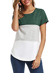 cheap -women's summer casual t-shirt short sleeve stripe comfy round neck tops blouses black 2xl