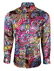 cheap -mens shiny paisley floral silk feel smart casual dress formal wedding casual shirt 425 (large, red)