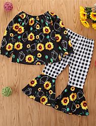 cheap -Kids Toddler Girls' Clothing Set Print Long Sleeve Cotton Casual Blue Basic Regular Regular