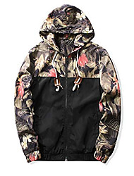 cheap -men's floral windbreaker hooded lightweight zip-up jacket (black,s)