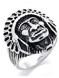 cheap -men's vintage stainless steel native american indian ring, size 10