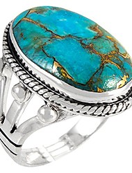 cheap -turquoise ring in sterling silver 925 & genuine turquoise size 6 to 12 (choose style) (classic, 12)