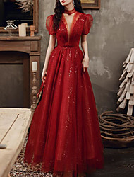 cheap -A-Line Glittering Beautiful Back Engagement Formal Evening Dress High Neck Short Sleeve Floor Length Tulle with Pleats Beading Sequin 2021