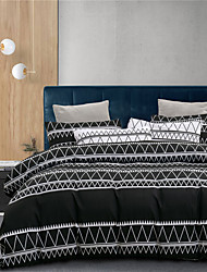 cheap -Simple Lines Print 3-Piece Duvet Cover Set Hotel Bedding Sets Comforter Cover with Soft Lightweight Microfiber(Include 1 Duvet Cover and 1or 2 Pillowcases)