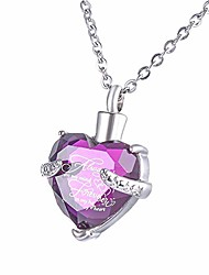 cheap -purple crystal heart cremation urn necklace for ashes urn jewelry memorial pendant - always on my mind forever in my heart