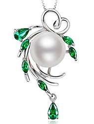 cheap -fine jewelry gifts for women 925 sterling silver freshwater cultured white pearl pendant necklace green hope