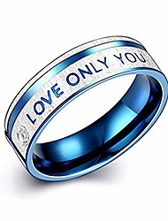 cheap -couples rings love only you engraved matching promise ring blue stainless steel valentine day gift (a:men 1pc/i love you, 7)