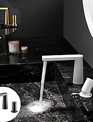 cheap -Bathroom Sink Faucet - Hot Cold Water Basin Faucet Single Handle Two HolesBath Taps Deck Mounted Vanity Vessel Sink Mixer Tap White / Brushed Gold / Brushed Gun Metal