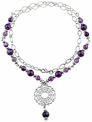 cheap -beads necklace crystal healing quartz chakra symbol energy with alloy charm stone jewelry,amethyst