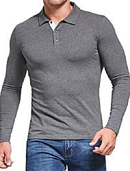 cheap -men's polo tee long sleeve polo shirts contrasting colors golf tennis polo shirt (size s,dark grey polos)