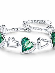 cheap -girls bracelets for women love heart bracelet 18k white gold adjustable bangle birthday birthstone jewelry gift for friend girlfriend woman