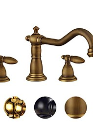 cheap -Bathroom Sink Faucet - Widespread Gold / Electroplated / Black Widespread Two Handles One HoleBath Taps