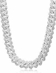 cheap -15mm diamond prong full iced out cuban link chain/bracelet - hip hop 18k gold/white gold plated miami cuban chain diamond prong link choker gold chain for men (white gold - 15mm, 22.00)