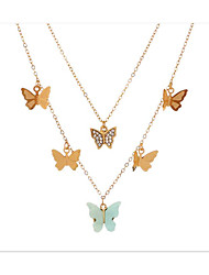 cheap -Women's Layered Necklace Stacking Stackable Butterfly Simple Elegant Fashion Modern Alloy Gold 47 cm Necklace Jewelry 3pcs For Anniversary Party Evening Street Engagement Festival