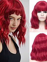 cheap -hot red wigs for women short wavy burgundy bob wigs with bang synthetic cosplay wig halloween costume women wig (red#288)