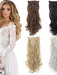 cheap -clip in hair extensions 8pcs 18clips 17inch curly wavy straight thick clip on synthetic hair extension hairpieces ash blonde