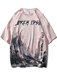 cheap -Men's T shirt Other Prints Graphic Letter Print Short Sleeve Daily Tops Chinese Style Casual Sports Round Neck White Blushing Pink Green / Summer