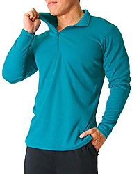 cheap -Men's Long Sleeve Shirt with Zip, Odor Control & Quick-Dry Active Sports Shirt for Hiking, Running, Sports (NKJ008, Ocean Dep, M)