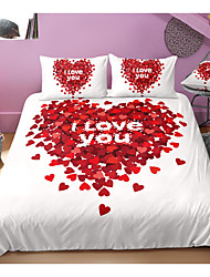 cheap -valentine's day series heart print 3-piece duvet cover set hotel bedding sets comforter cover with soft lightweight microfiber, include 1 duvet cover, 2 pillowcases for double/queen/king(1 pillowcase