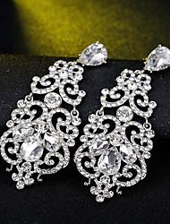 cheap -Women's Clear Cubic Zirconia Hoop Earrings Geometrical Happy Stylish Simple Earrings Jewelry Silver For Daily Prom
