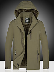 cheap -Men's Outdoor Jacket Street Daily Fall Spring Regular Coat Zipper Turndown Regular Fit Waterproof Windproof Breathable Casual Jacket Long Sleeve Solid Color Pocket Army Green Khaki Ocean Blue