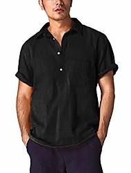 cheap -short sleeve polo shirt slim fit baggy  linen solid color retro tops blouse black