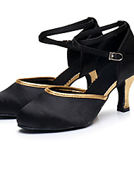 cheap -Women's Dance Shoes Latin Shoes Heel Slim High Heel Black / Gold Black / Red Buckle Adults'