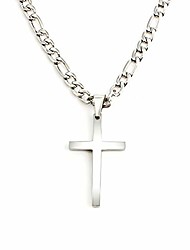cheap -stainless steel cross pendant necklace for men women 3:1 figaro chain -silver 4/5/6 mm width(with gift box) (4)