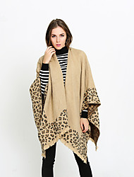 cheap -Sleeveless Artistic / Retro / Shawls Imitation Cashmere Office / Career Shawl & Wrap / Women's Wrap With Leopard Print