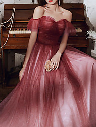 cheap -A-Line Glittering Elegant Engagement Formal Evening Valentine's Day Dress Off Shoulder Sleeveless Floor Length Tulle with Pleats 2020