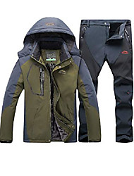 cheap -Men's Skiing Mountain Ski Jacket Waterproof Outdoor Sport Windproof Parkas with Hood Top + Pants Two-Piece Army Green Grey M