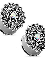 "cheap -Opal Centered Antique Silver Plated Lotus Flower Top Double Flared Tunnels Ear Plug Gauges Piercings - 7 Sizes Available (12mm - 1/2"")"